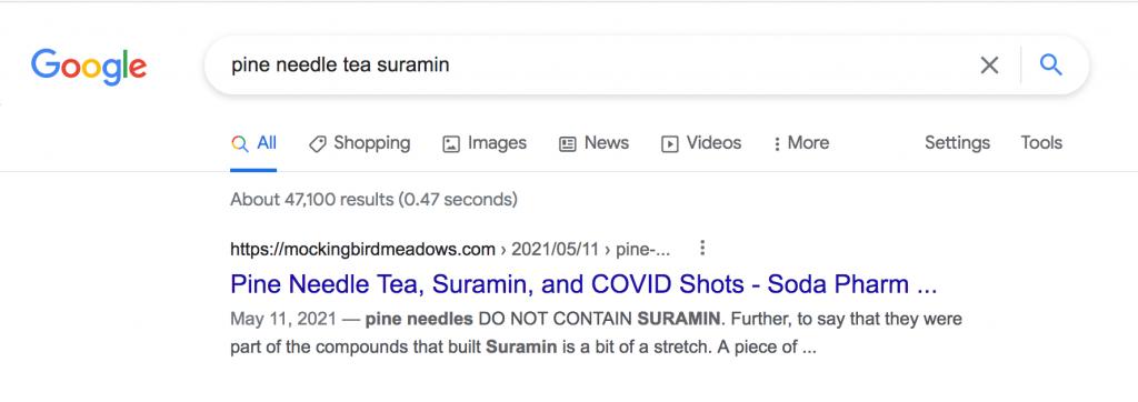Potential aid to reverse spike protein damage with suramin, shikimic acid & pine needle tea Google-Pine-Needle-tea--1024x362